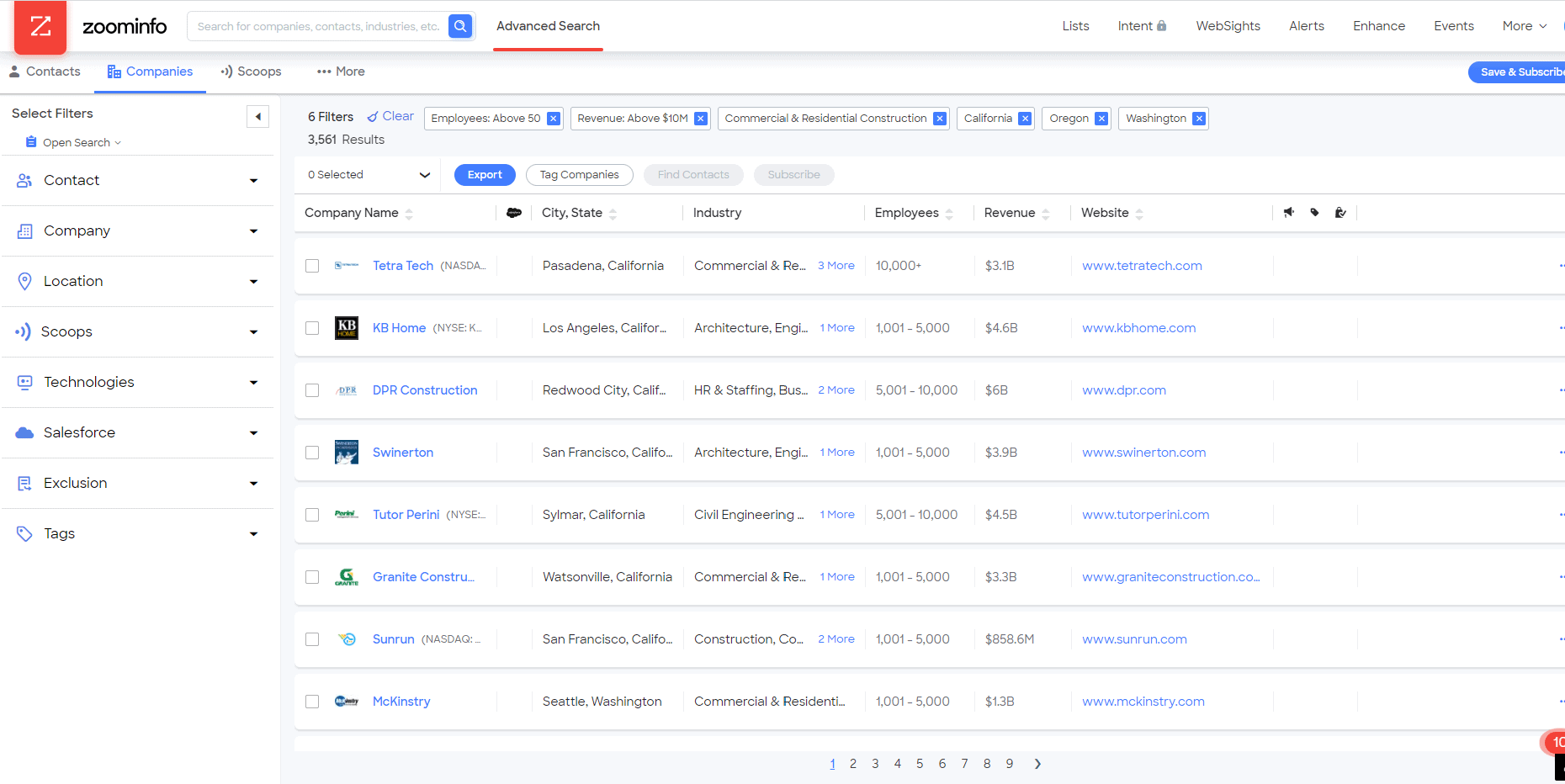 ZoomInfo Advanced Search